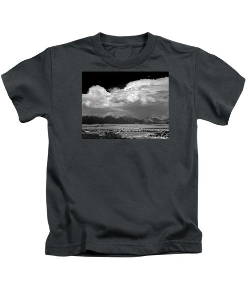 210736-bw-thunderheads Over Mt. Princeton Bw  Kids T-Shirt