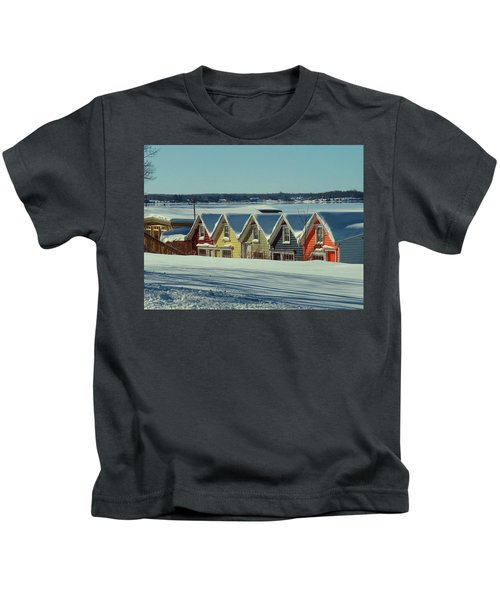 Winter View Ti Park Boathouses Kids T-Shirt