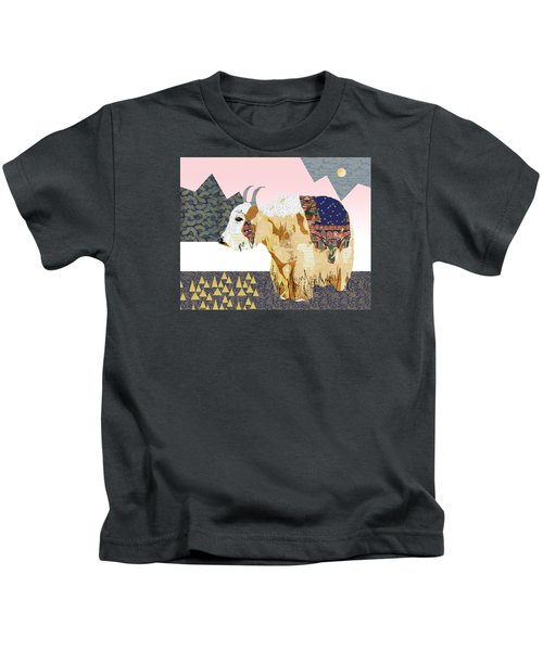 Tibet Yak Collage Kids T-Shirt by Claudia Schoen