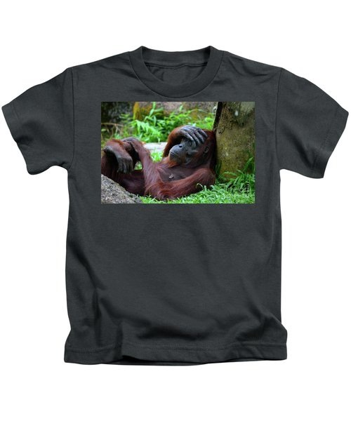 Tired Female Orangutan Ape Rests Against Tree With Hand On Her Head Kids T-Shirt