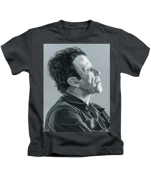 Kids T-Shirt featuring the painting Tom Waits by Matthew Mezo