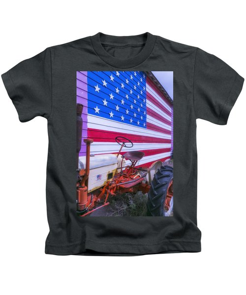 Tractor And Large Flag Kids T-Shirt