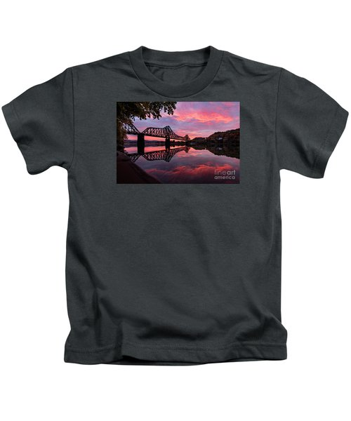 Train Bridge At Sunrise  Kids T-Shirt