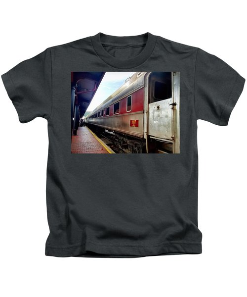 Kids T-Shirt featuring the photograph Train Station by Chris Montcalmo