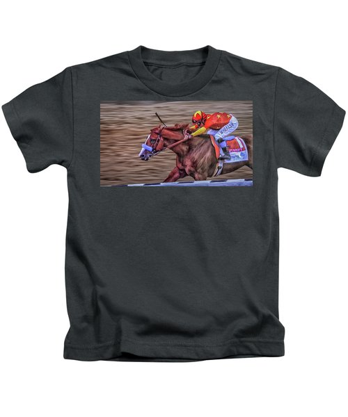 Triple Crown Winner Justify Kids T-Shirt