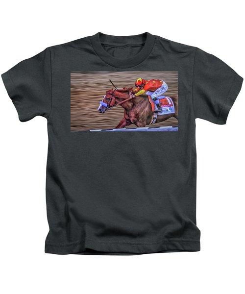 Triple Crown Winner Justify Kids T-Shirt