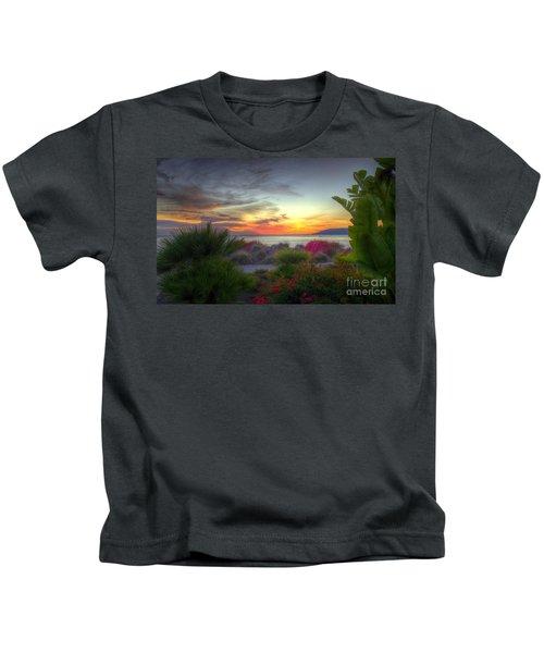 Tropical Paradise Sunset Kids T-Shirt