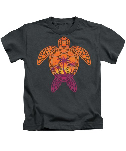 Tropical Sunset Sea Turtle Design Kids T-Shirt