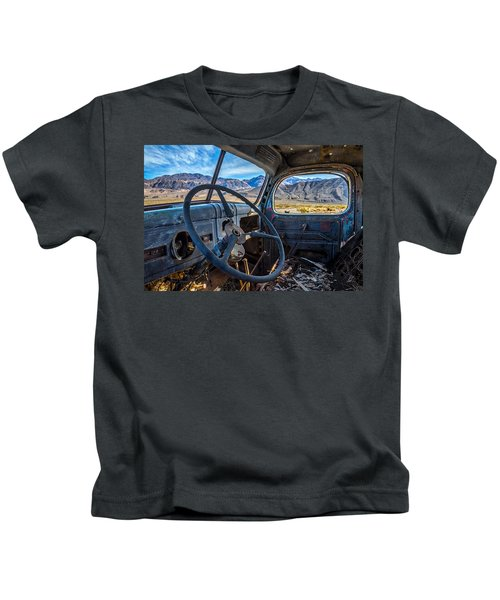 Truck Desert View Kids T-Shirt by Peter Tellone