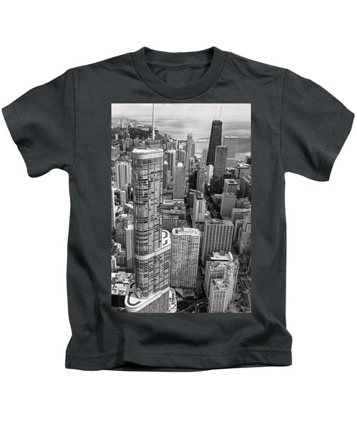Trump Tower And John Hancock Aerial Black And White Kids T-Shirt