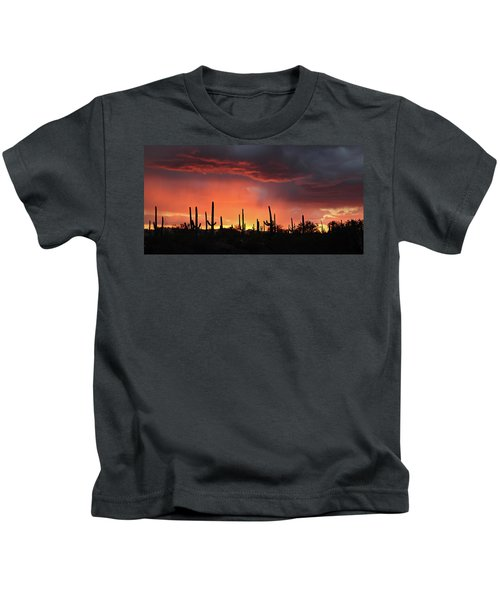 Tucson Sunset With Rain Kids T-Shirt
