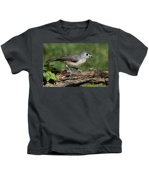 Tufted Titmouse On Tree Branch Kids T-Shirt