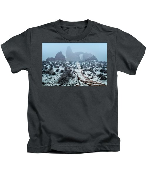 Turret Arch In The Fog Kids T-Shirt
