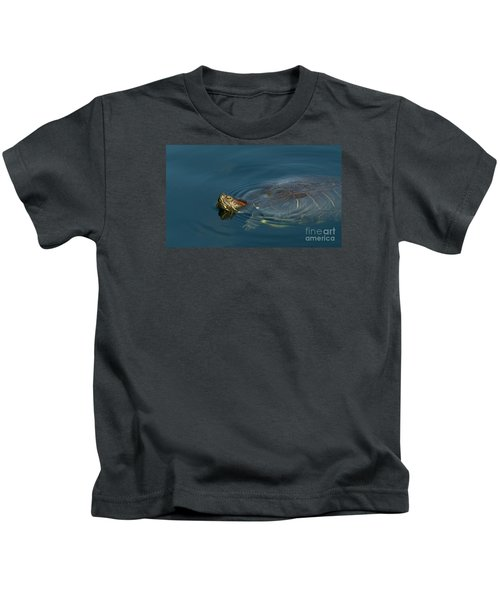 Turtle Floating In Calm Waters Kids T-Shirt