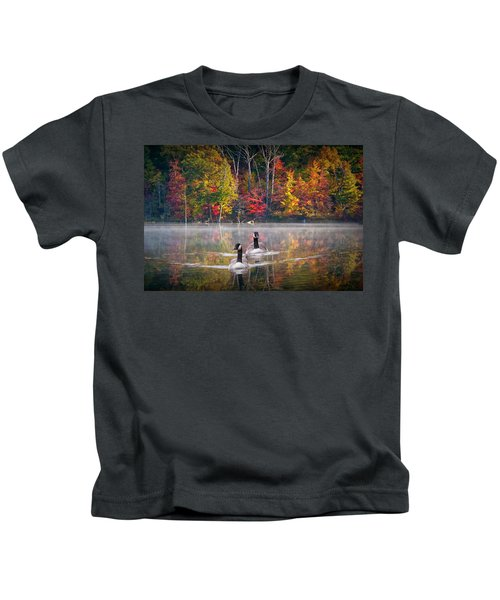 Two Canadian Geese Swimming In Autumn Kids T-Shirt
