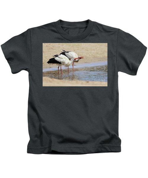 Two Drinking White Storks Kids T-Shirt
