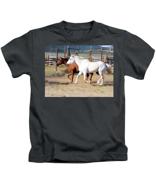 Two Ranch Horses Galloping Into The Corrals Kids T-Shirt