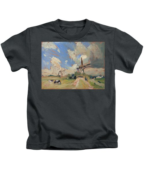 Two Windmills Kids T-Shirt by Nop Briex