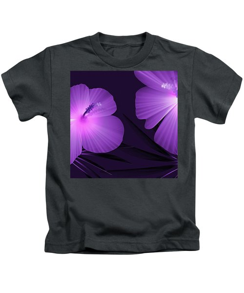 Ultraviolet Hibiscus Tropical Nature Print  Kids T-Shirt