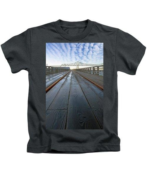 Under Astoria Megler Bridge On Riverwalk Kids T-Shirt