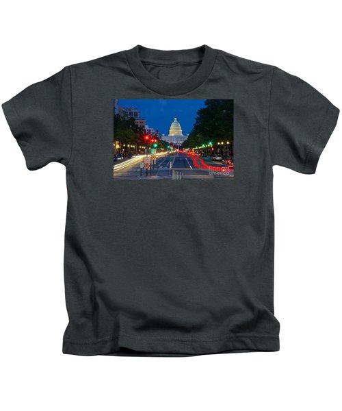 United States Capitol Along Pennsylvania Avenue In Washington, D.c.   Kids T-Shirt