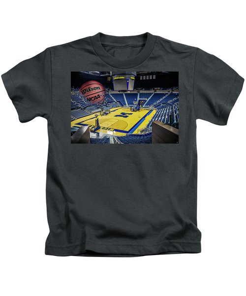 University Of Michigan Basketball Kids T-Shirt by Nicholas Grunas