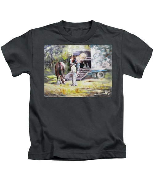 Unloading The Clydesdales Kids T-Shirt