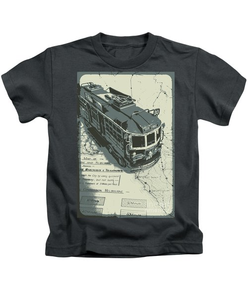 Urban Trams And Old Maps Kids T-Shirt