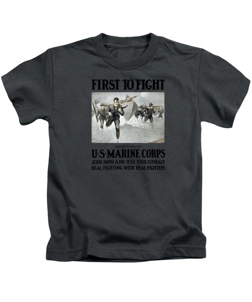 Us Marine Corps - First To Fight  Kids T-Shirt