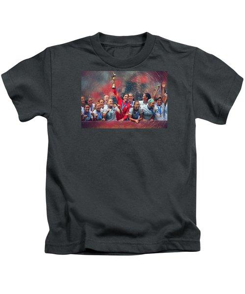 Us Women's Soccer Kids T-Shirt by Semih Yurdabak