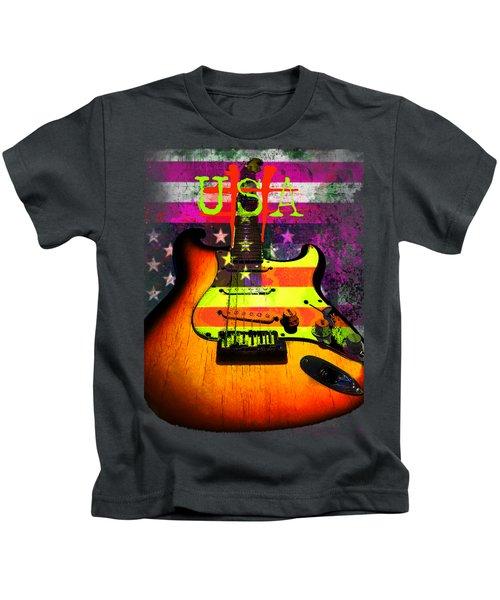Usa Strat Guitar Music Kids T-Shirt