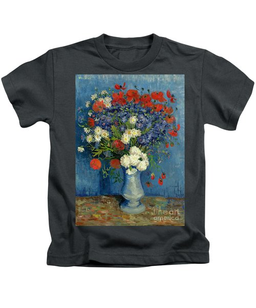 Vase With Cornflowers And Poppies Kids T-Shirt