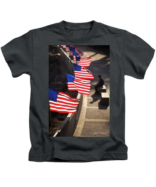 Veteran With Our Nations Flags Kids T-Shirt
