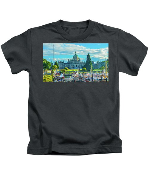 Victoria Bc Parliament Harbor Kids T-Shirt