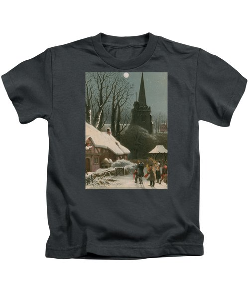 Victorian Christmas Scene With Band Playing In The Snow Kids T-Shirt