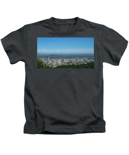 View Of Downtown Portland Oregon From Pittock Mansion Kids T-Shirt