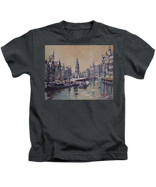 View To The Mint Tower Amsterdam Kids T-Shirt by Nop Briex