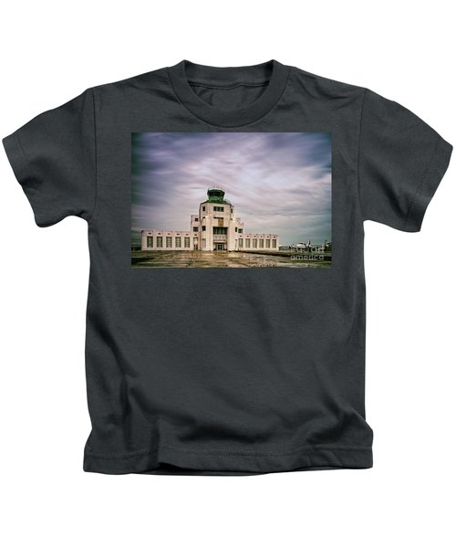 Vintage Architectural Photograph Of The 1940 Air Terminual Museum - Hobby Airport Houston Texas Kids T-Shirt