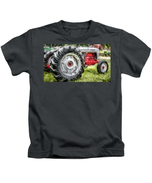 Vintage Ford Tractor Watercolor Kids T-Shirt