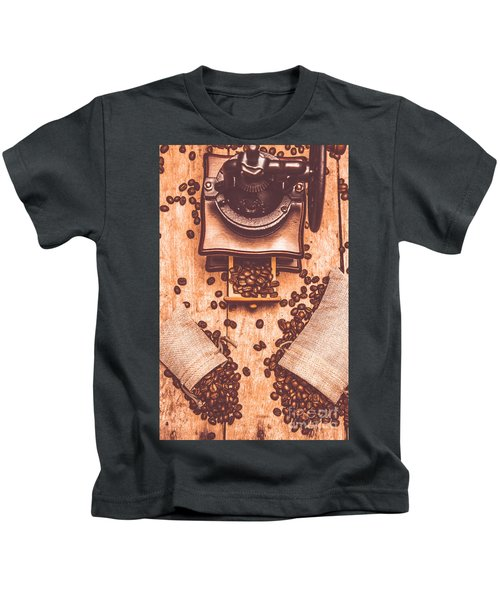 Vintage Grinder With Sacks Of Coffee Beans Kids T-Shirt