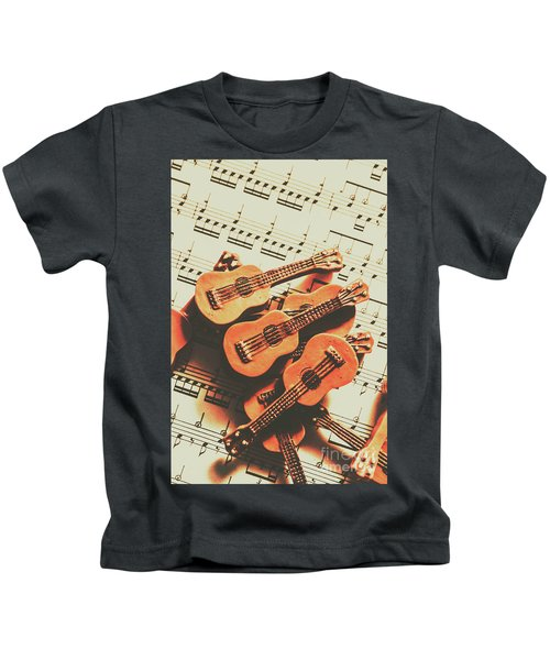 Vintage Guitars On Music Sheet Kids T-Shirt