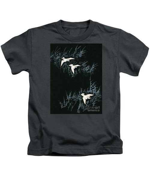 Vintage Japanese Illustration Of Three Cranes Flying In A Night Landscape Kids T-Shirt by Japanese School