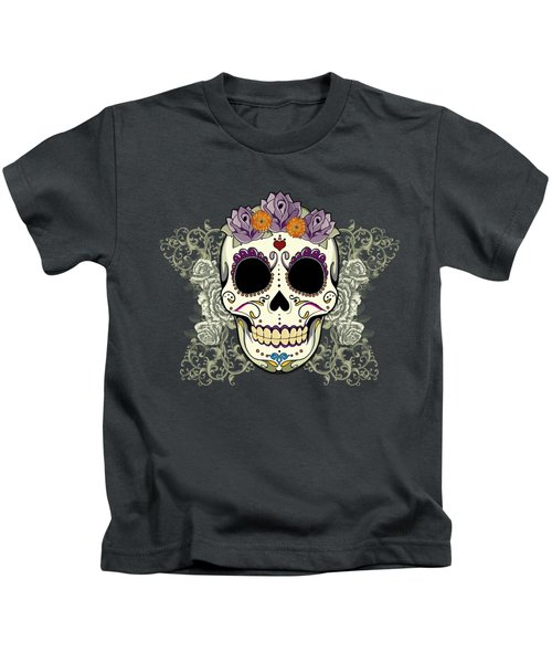 Vintage Sugar Skull And Flowers Kids T-Shirt by Tammy Wetzel
