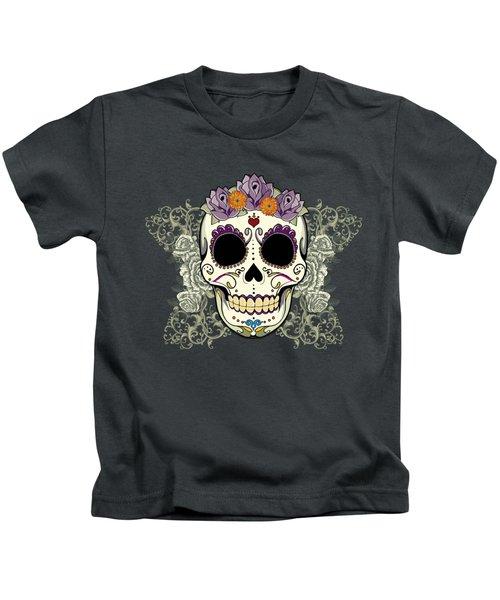 Vintage Sugar Skull And Flowers Kids T-Shirt