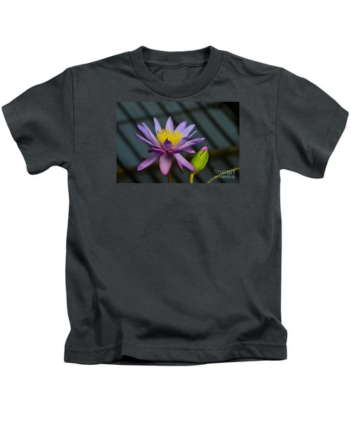 Violet And Yellow Water Lily Flower With Unopened Bud Kids T-Shirt