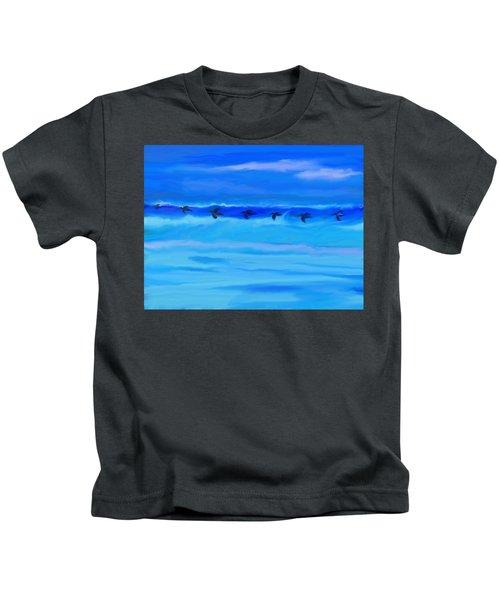 Vol De Pelicans Kids T-Shirt by Aline Halle-Gilbert