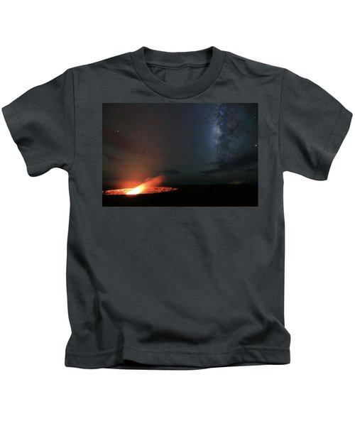 Volcano Under The Milky Way Kids T-Shirt