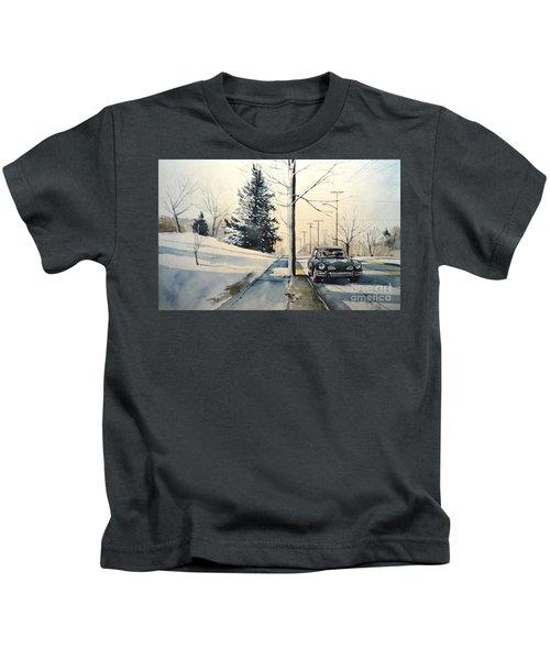 Volkswagen Karmann Ghia On Snowy Road Kids T-Shirt