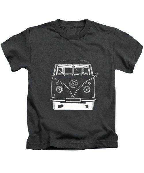 Vw Van Graphic Artwork Tee White Kids T-Shirt by Edward Fielding