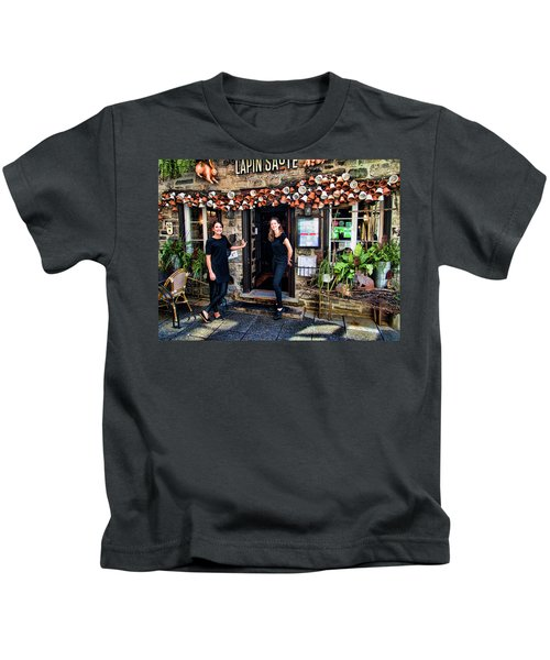 Waitresses At Outdoor French Terroir In Old Quebec City Kids T-Shirt